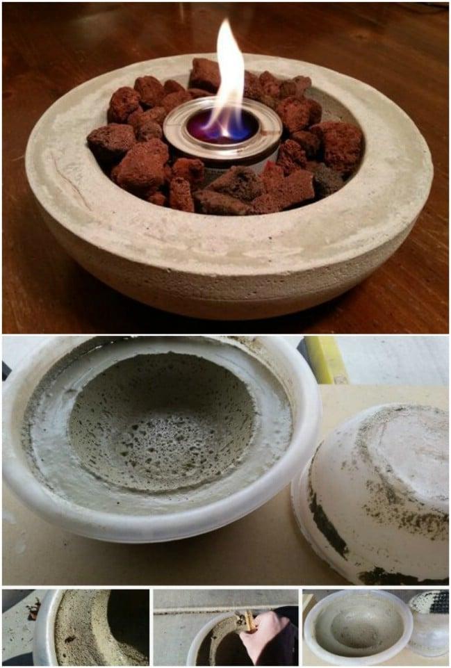 Easy DIY Concrete Tabletop Fire Bowl