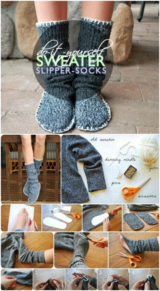 Up-cycle old sweaters into warm, fuzzy socks.