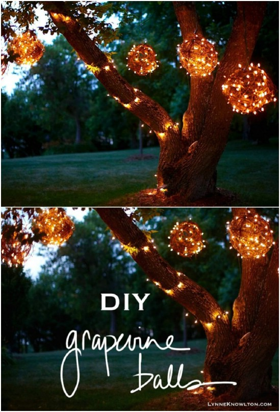DIY Grapevine Garden Lights