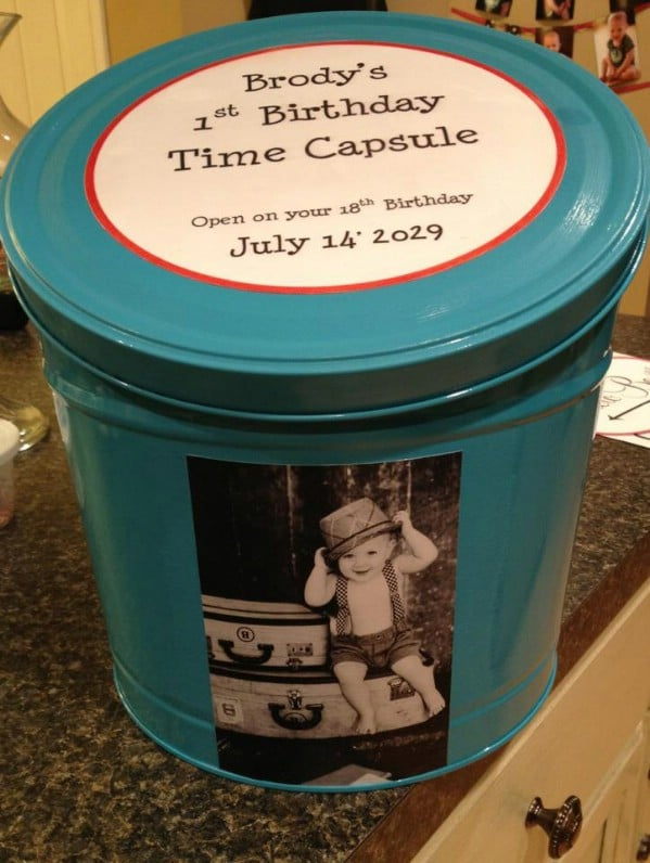 Birthday Time Capsule From Popcorn Tin