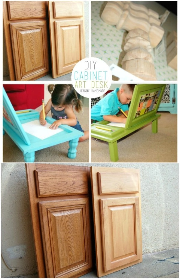 Upcycled Cabinet Doors Turned Art Desk