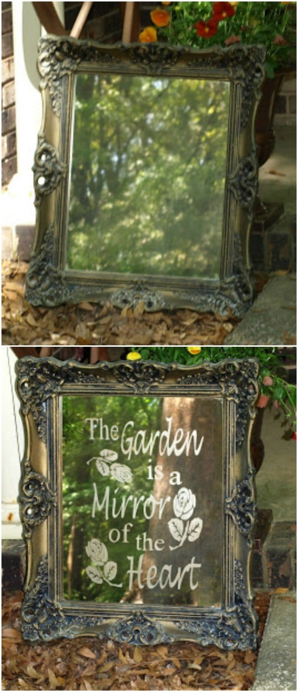 Repurposed Mirror Garden Art