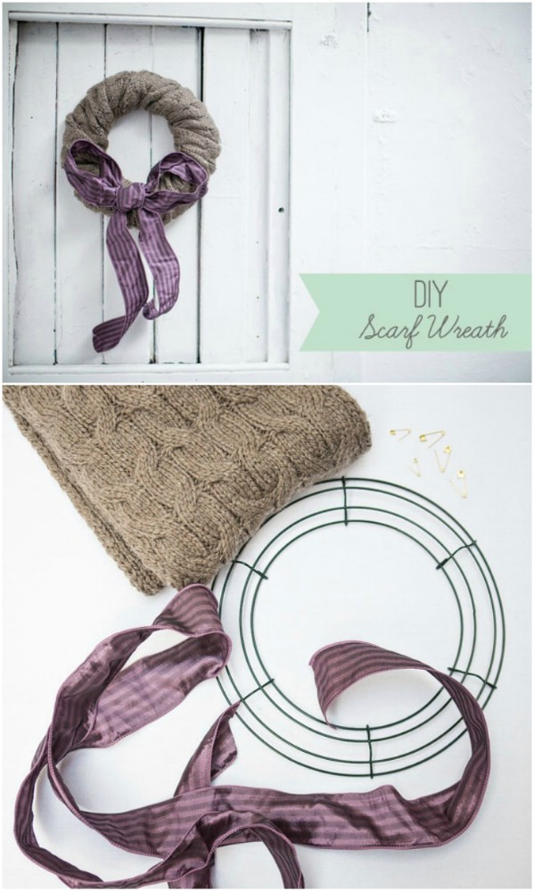 DIY Repurposed Scarf Holiday Wreath