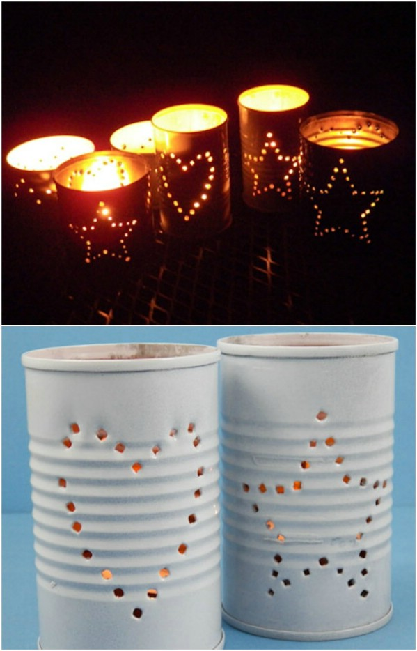 Repurposed Coffee Can Luminaries