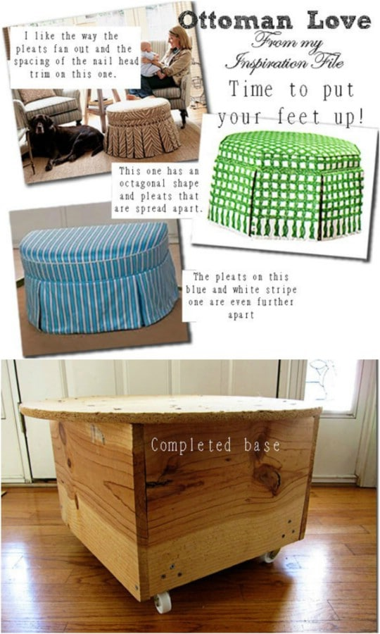 Quick And Easy No Sew Round Ottoman