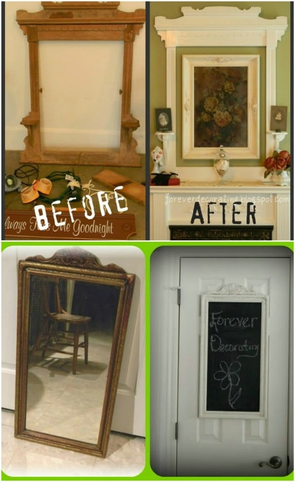Upcycled Mirror Frame Fireplace Art