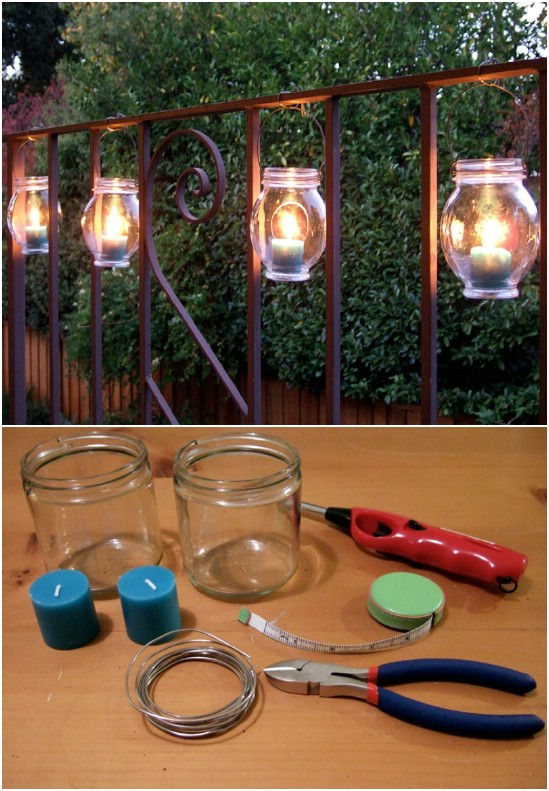 DIY Hanging Railing Lanterns
