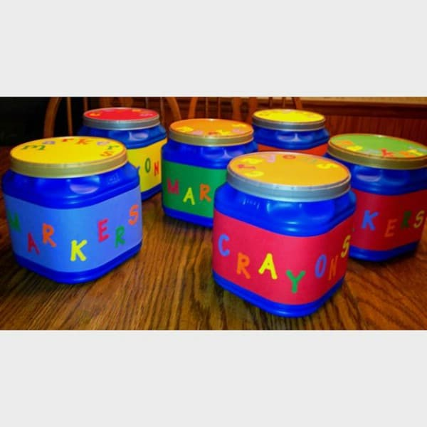 Kid's Craft Storage From Upcycled Coffee Canisters