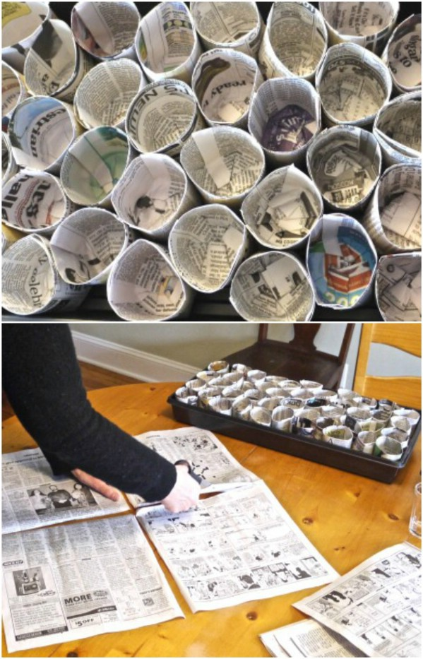 Upcycled Newspapers Into Seed Pots