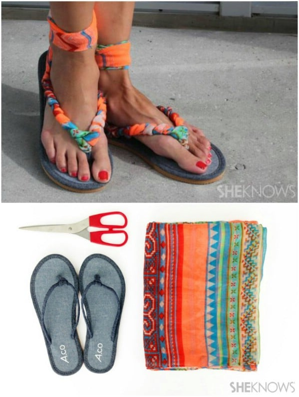 Cute DIY Scarf Strappy Sandals