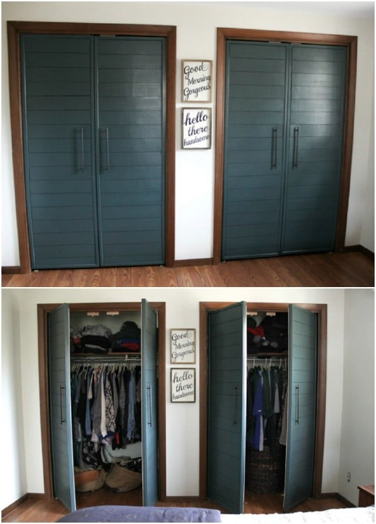 Faux Shiplap French Closet Doors