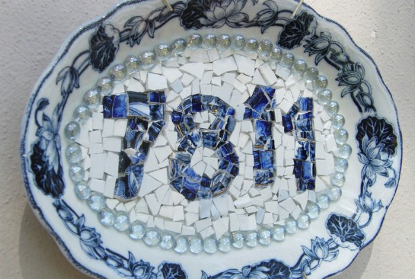 Repurposed Broken China Into House Number Display