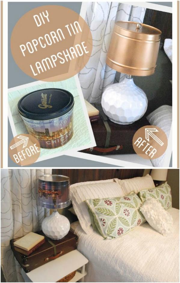 Easy DIY Popcorn Tin Lampshade