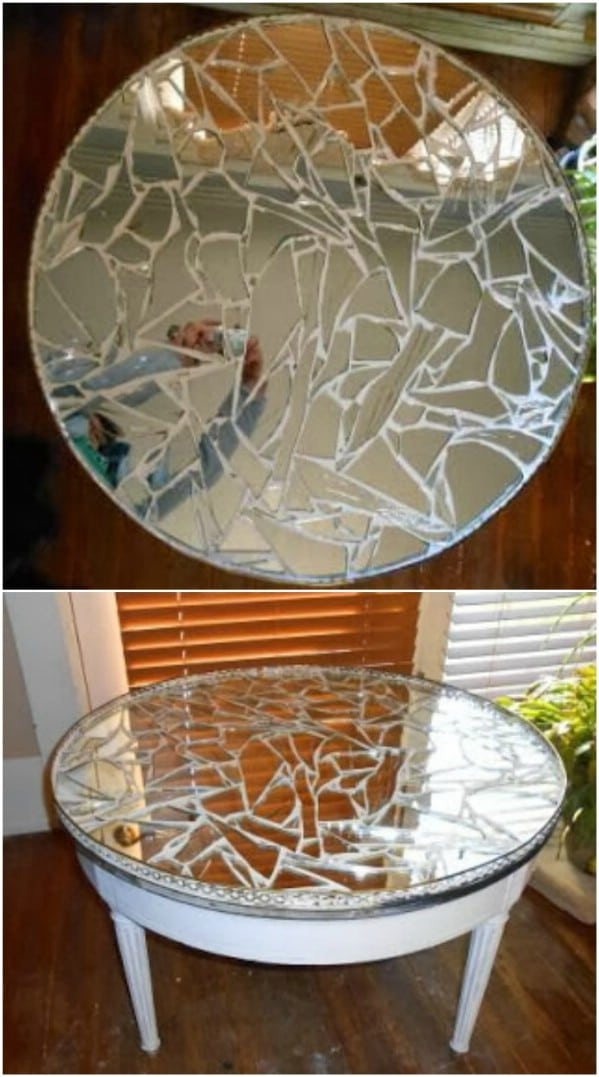 Upcycled Broken Mirror Tabletop