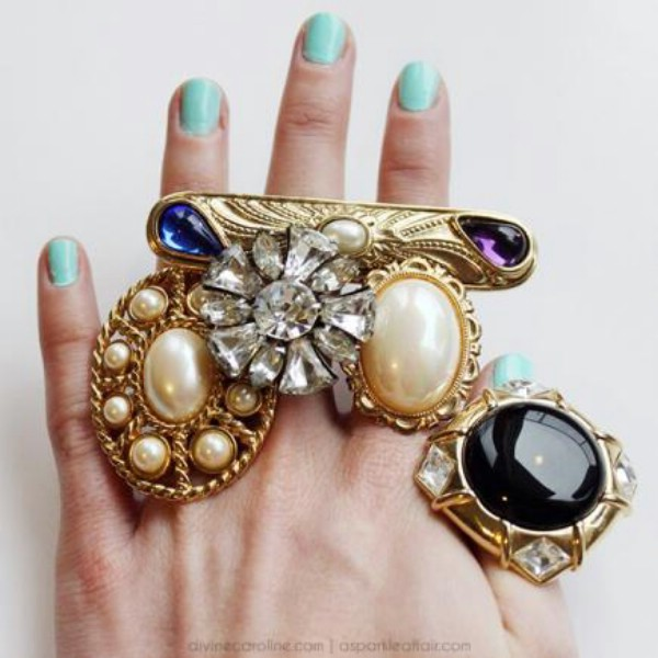 Vintage Brooch Cocktail Ring