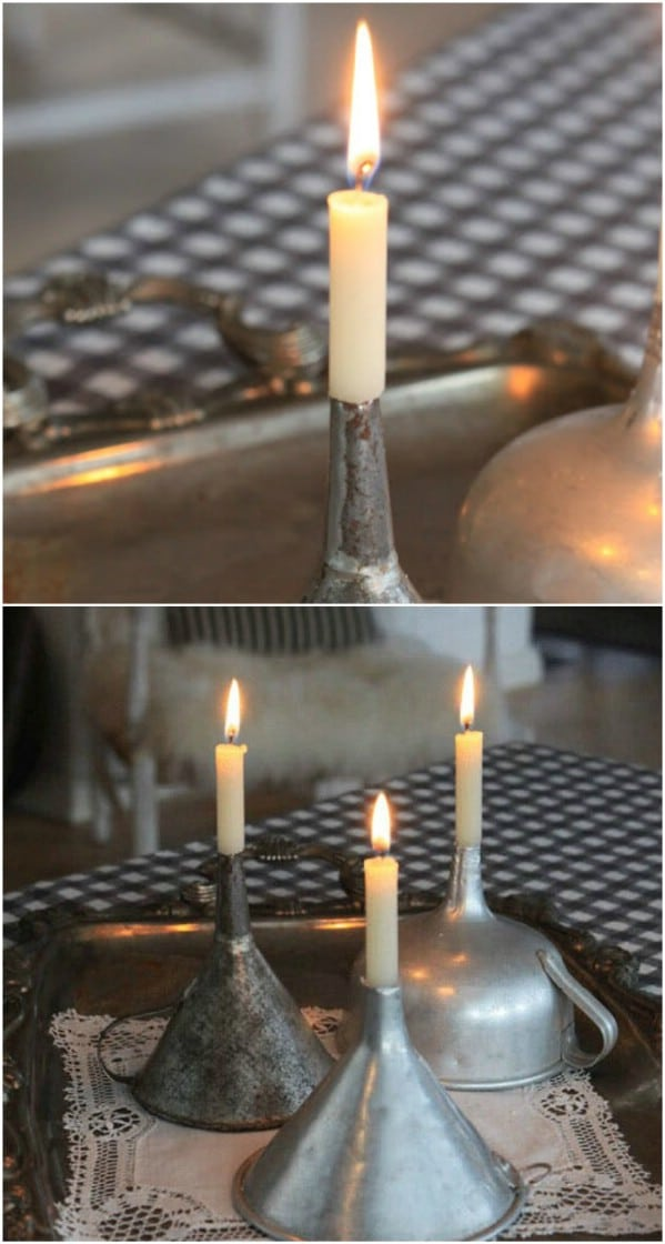 Repurposed Metal Funnel Candle Holders