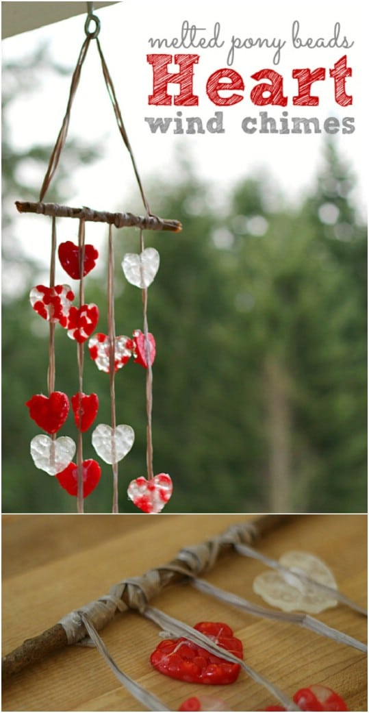 Melted Bead Heart Wind Chime