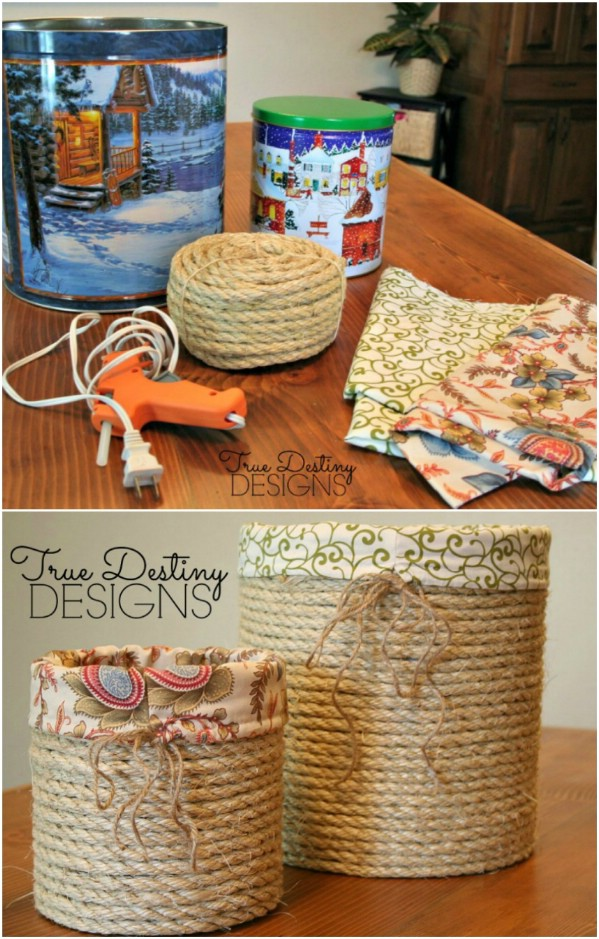 Stylish Lined Baskets From Popcorn Tins