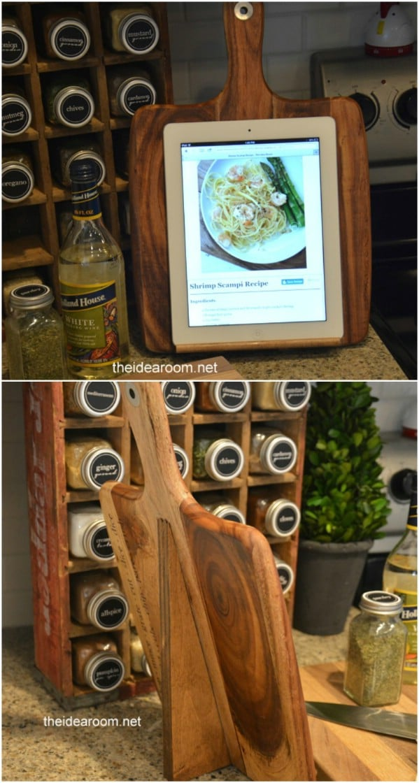 DIY Cutting Board Tablet Holder