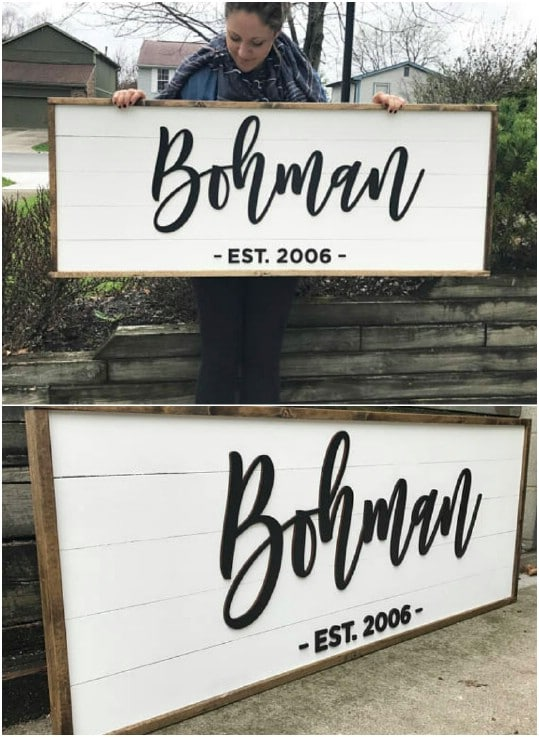 Personalized Shiplap Family House Sign