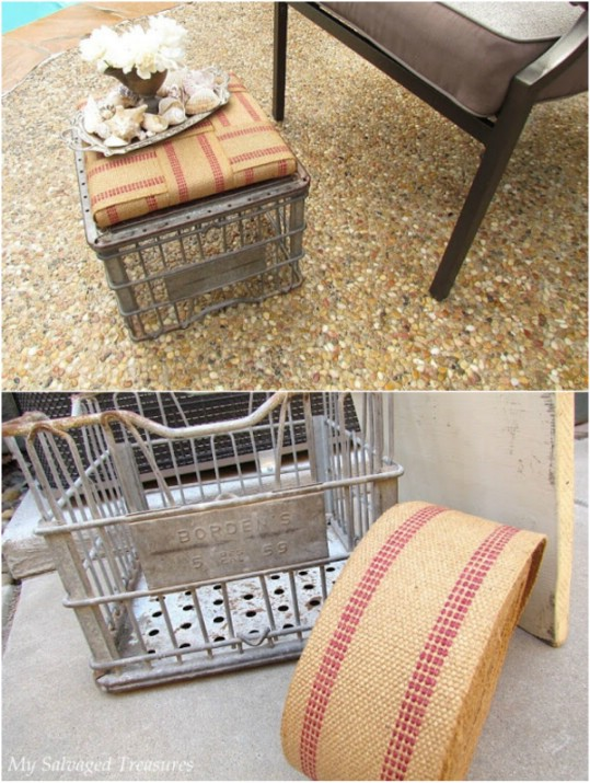 Upcycled Milk Crate Ottoman