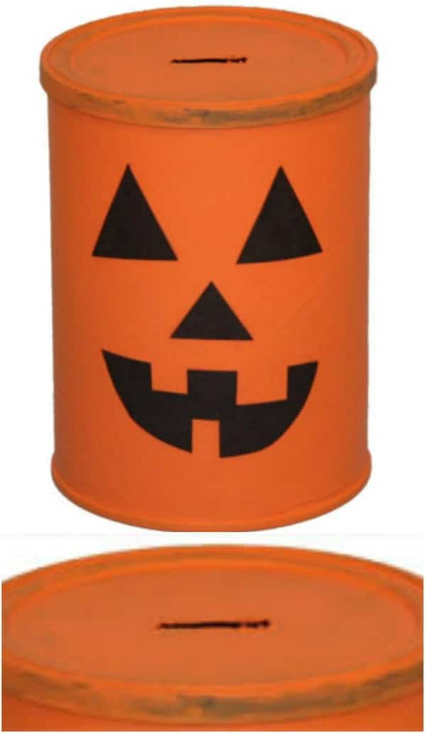 Upcycled Coffee Can Pumpkin Bank