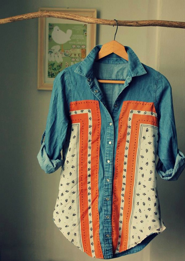 Vintage Denim And Scarf Shirt