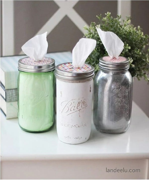 Repurposed Mason Jar Tissue Holder