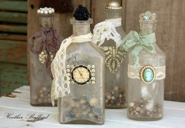 Repurposed Jewelry Bottle Décor