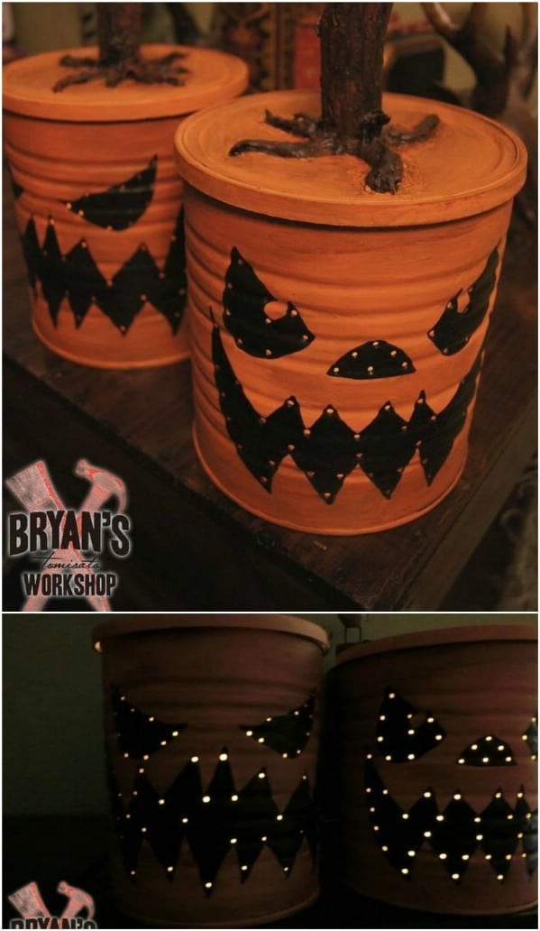 DIY Coffee Can Jack-O-Lantern With Lights