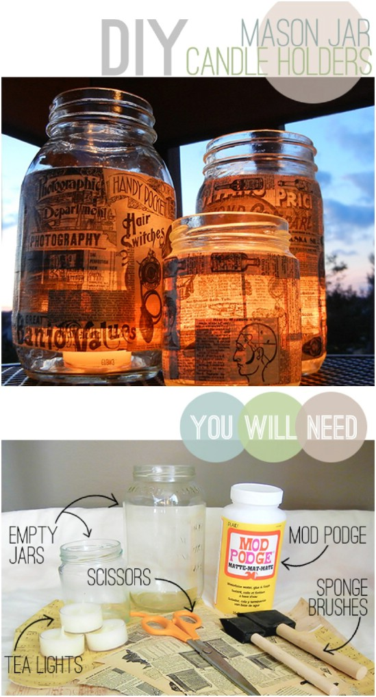 DIY Decoupage Mason Jar Lanterns