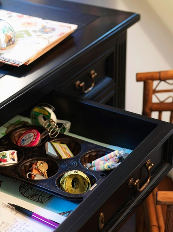 Upcycled Muffin Tin Drawer Organizer