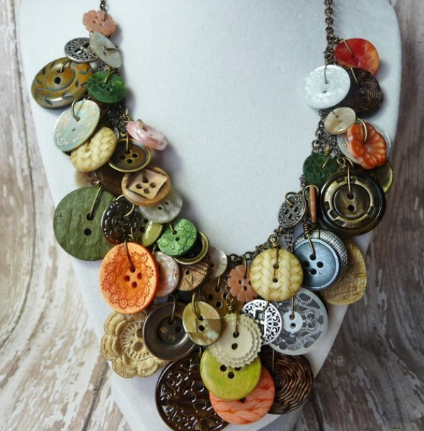 Vintage Jeweled Button Necklace