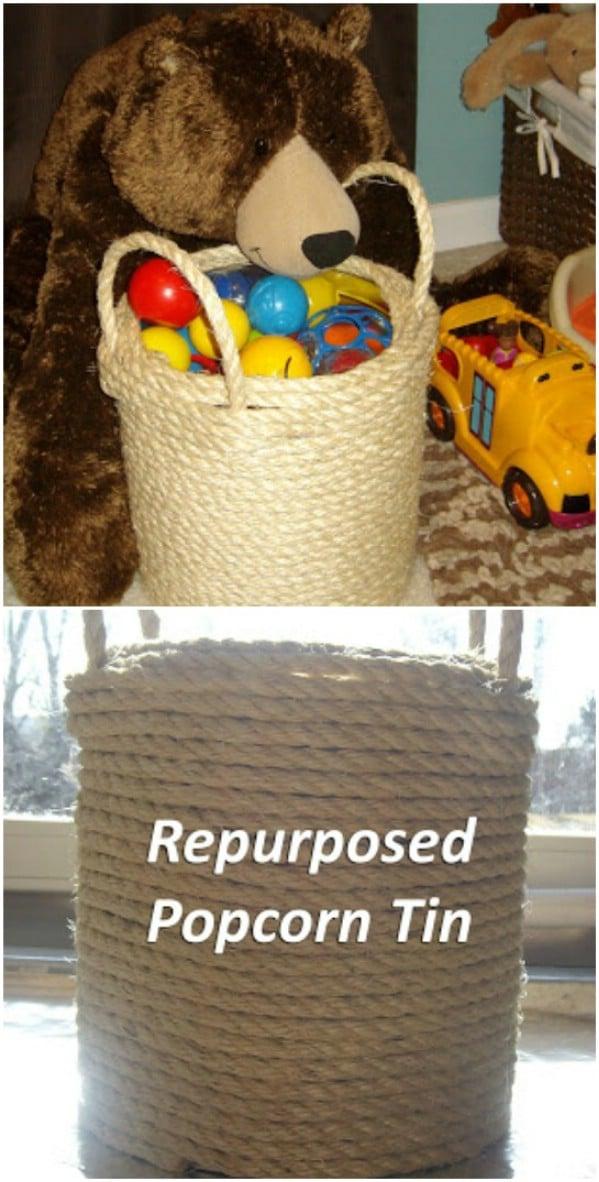 Rope Covered Storage Tin