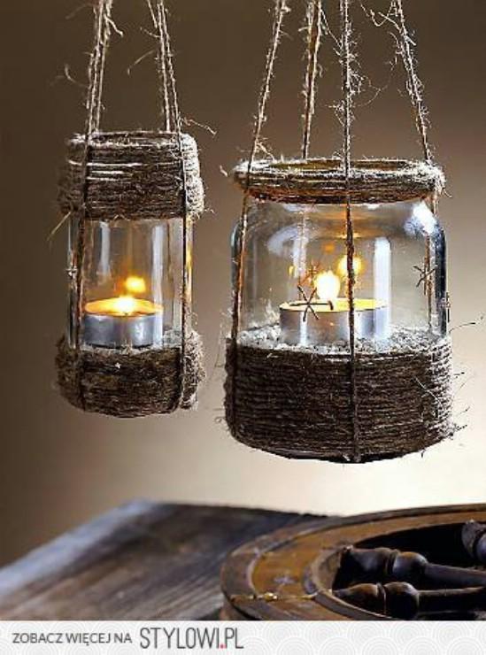 Rustic Twine Jar Lanterns