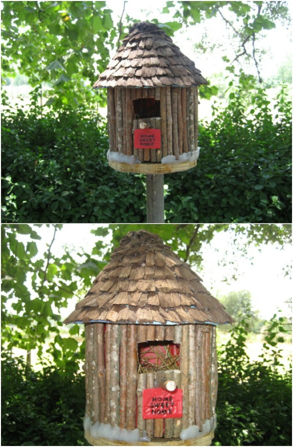 Upcycled Coffee Container Birdhouse