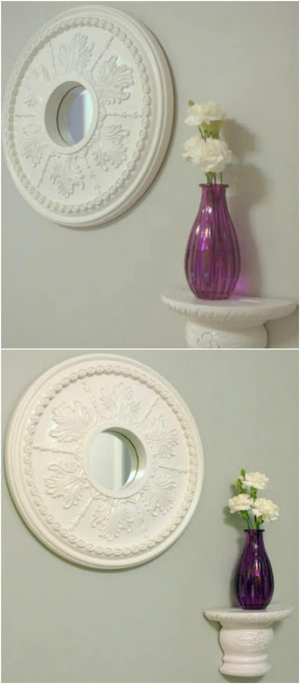 Upcycled Glass Medallion Mirror
