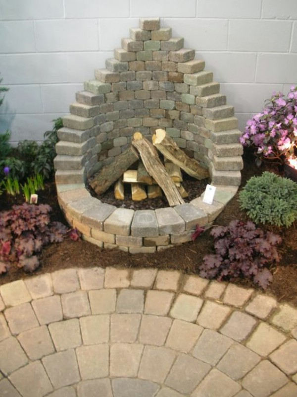 Lovely Stacked Paver Outdoor Fireplace