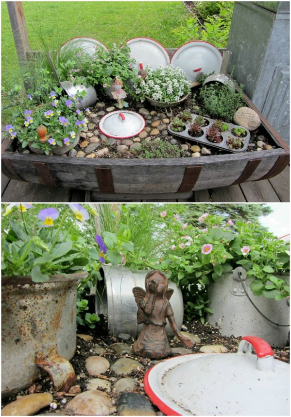 Repurposed Pots And Pans Fairy Garden Décor