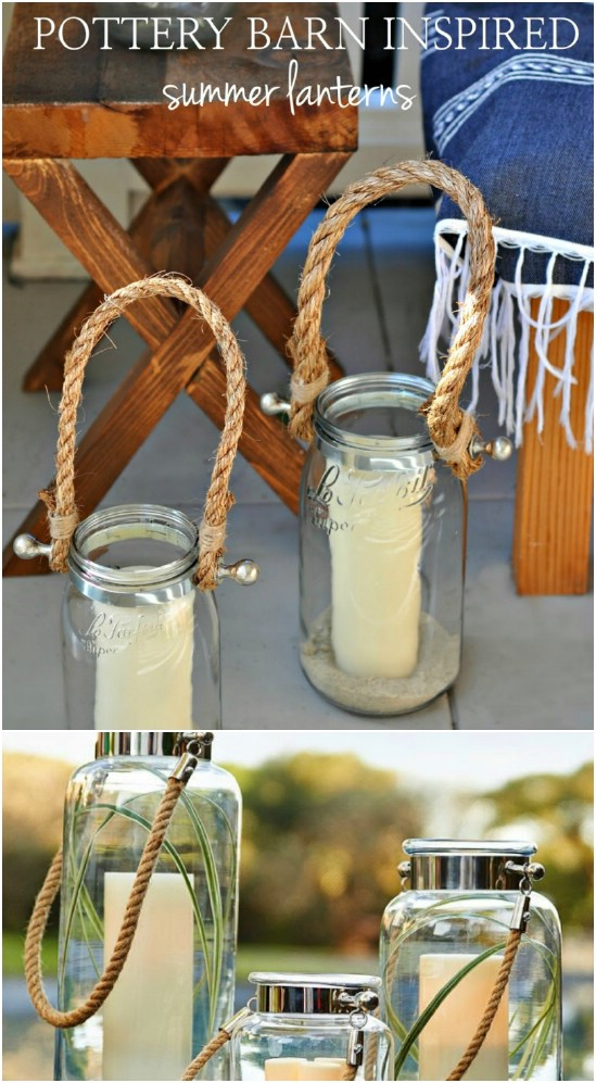 Pottery Barn Inspired Rustic Lanterns