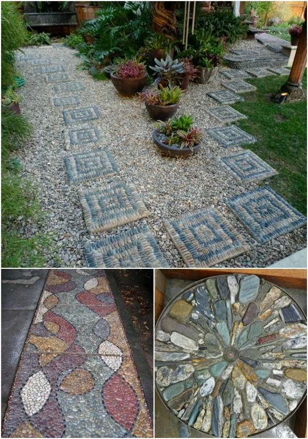 DIY Pebble Mosaic Walkway Stones