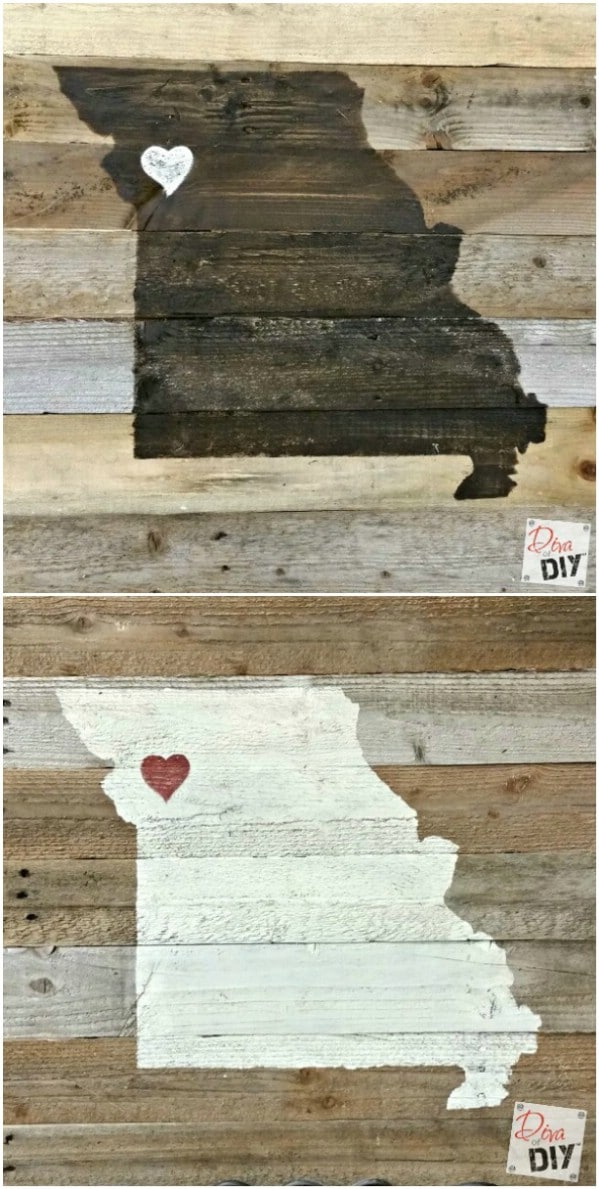 DIY Reclaimed Wood State Sign