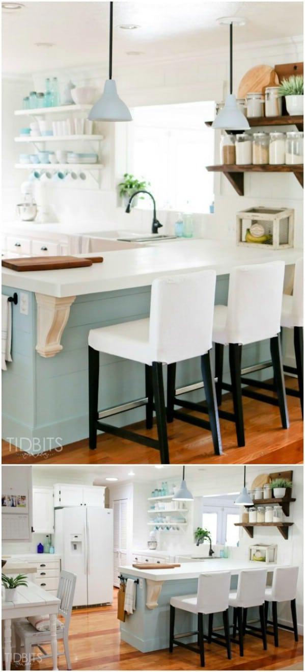 Blue And White Cottage Cabinets