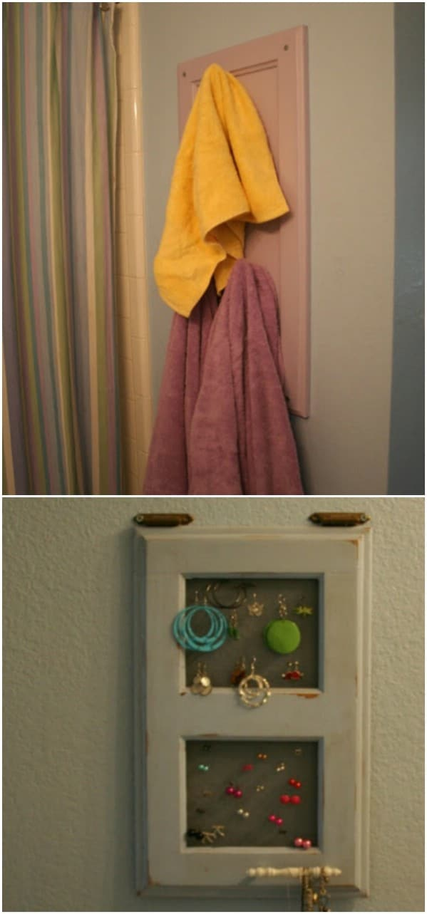 Repurposed Cabinet Door Towel Holder