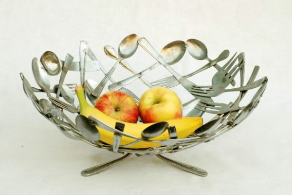 DIY Silverware Fruit Bowl