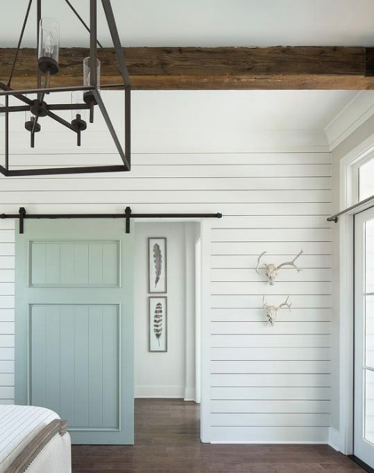 Shiplap Bedroom With Accent Beams