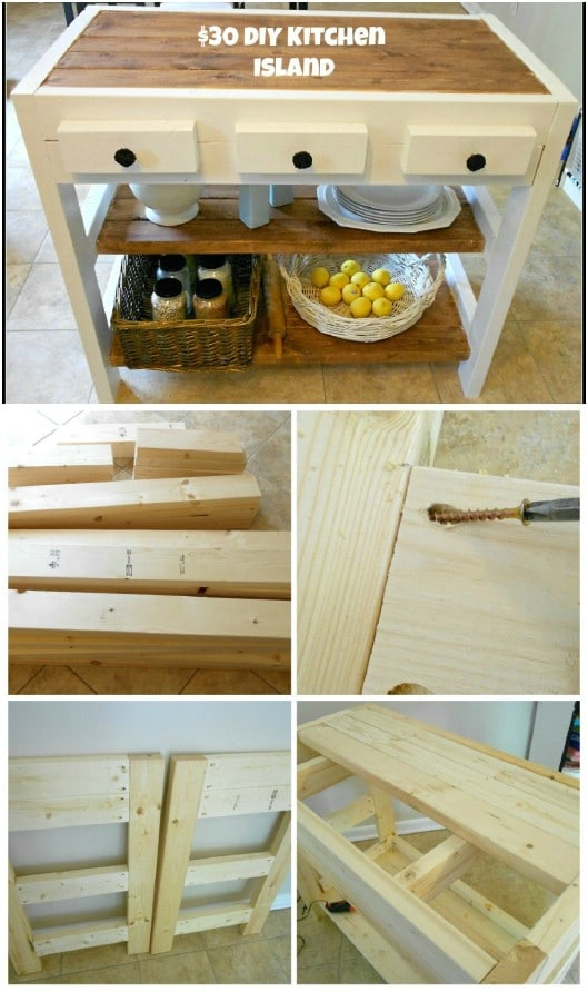 DIY Wooden Kitchen Island