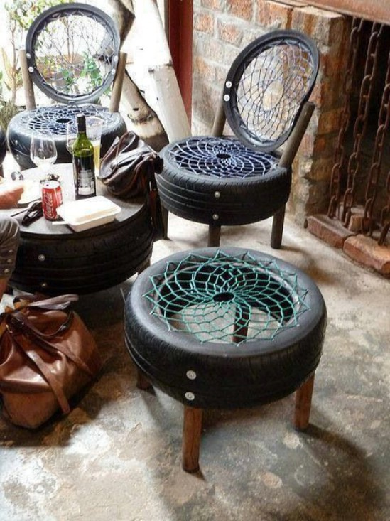 Upcycled Tire Chairs