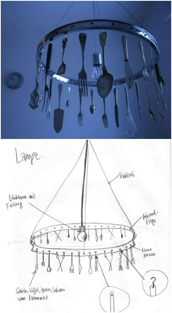 DIY Repurposed Silverware Chandelier