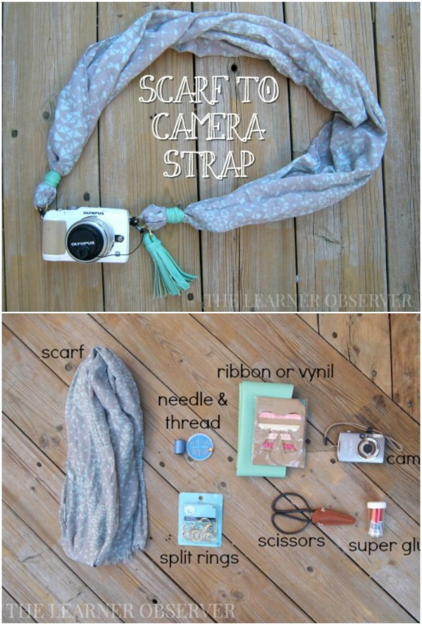 Repurposed Scarf Camera Strap